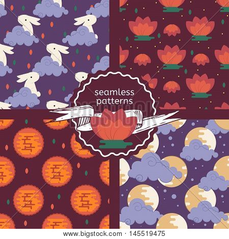 Set of patterns for the lunar festival theme. Vector chinese mid autumn festival backgrounds for textile fabric wallpaper web print and mobile.