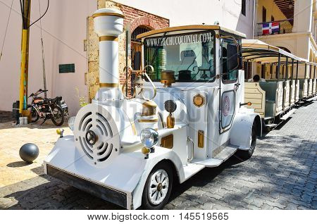 SANTO DOMINGO, DOMINICAN REPUBLIC - January 24, 2016: Chu Chu Colonial is a train that present in 45 min. the Colonial Zone of Santo Domingo.