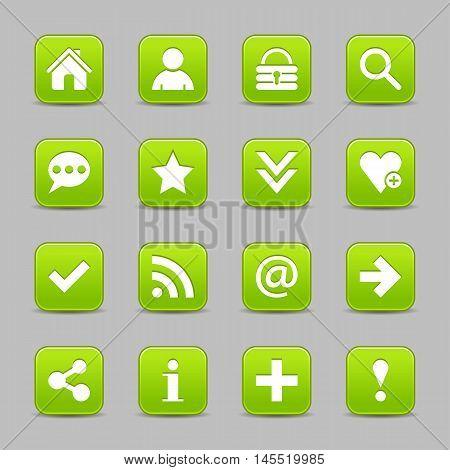 Green Satin Icon Web Button With White Basic Sign