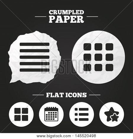 Crumpled paper speech bubble. List menu icons. Content view options symbols. Thumbnails grid or Gallery view. Paper button. Vector