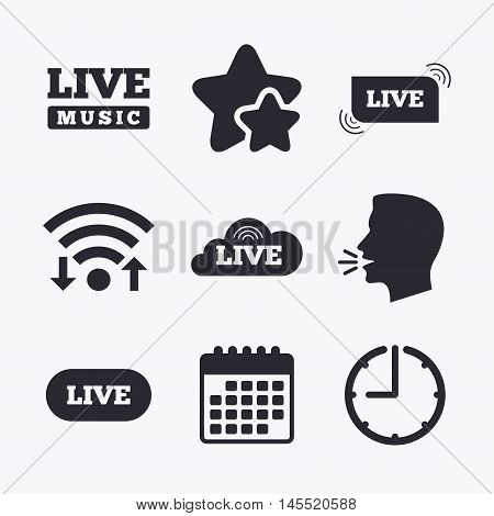 Live music icons. Karaoke or On air stream symbols. Cloud sign. Wifi internet, favorite stars, calendar and clock. Talking head. Vector