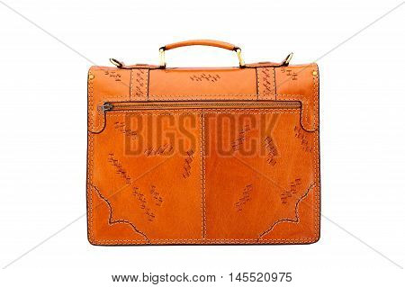 One  leather bright brown briefcase .Isolated on the white background.Men's buisiness fashion accessories.