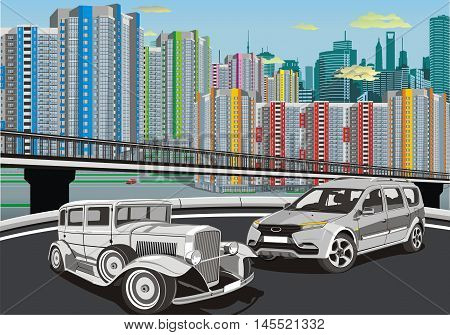 Urban landscape - cars on the background of the metropolis. Vector illustration