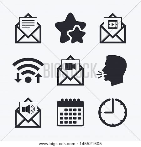 Mail envelope icons. Message document symbols. Video and Audio voice message signs. Wifi internet, favorite stars, calendar and clock. Talking head. Vector