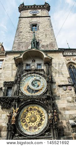 Old town hall with astronomical clock in Prague. Cultural heritage. Architectural theme. Vertical composition. Travel destination.