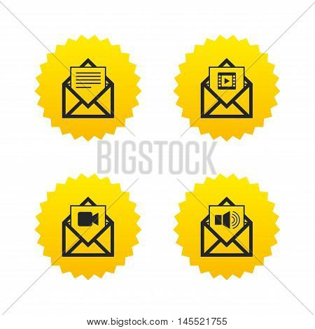 Mail envelope icons. Message document symbols. Video and Audio voice message signs. Yellow stars labels with flat icons. Vector