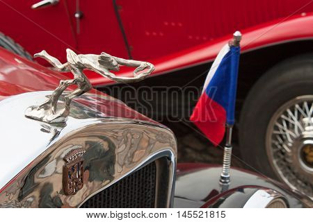 TISNOV, CZECH REPUBLIC - SEPTEMBER 3, 2016: The traditional meeting of fans of vintage cars and motorbikes. Model Praga-Piccolo, made in 1931, four-cylinder. Manufacturer Kolben-Danek.