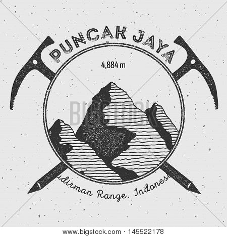 Puncak Jaya In Sudirman Range, Indonesia Outdoor Adventure Logo. Climbing Mountain Vector Insignia.