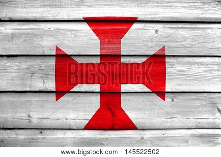 Flag Of Sucre, Bolivia, Painted On Old Wood Plank Background