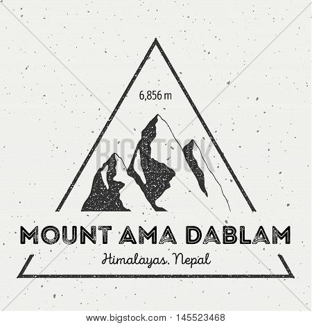 Ama Dablam In Himalayas, Nepal Outdoor Adventure Logo. Triangular Mountain Vector Insignia. Climbing