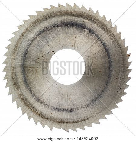 Old circular saw blade isolated on white background