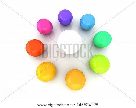 A 3D rendered Illustration. A color wheel.
