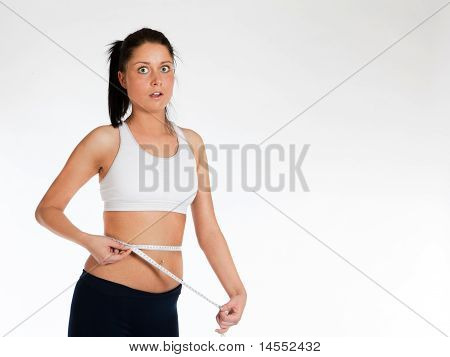 Shocked Woman Measuring Waist