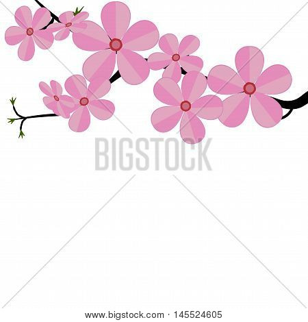 Stylized cherry Japan cherry branch with blooming flowers vector illustration