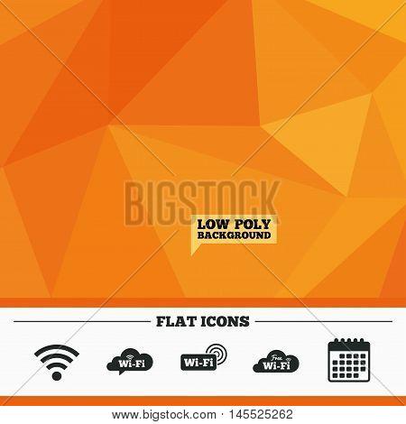 Triangular low poly orange background. Free Wifi Wireless Network cloud speech bubble icons. Wi-fi zone sign symbols. Calendar flat icon. Vector