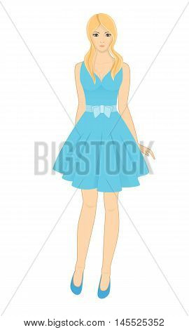 Beautiful woman in a blue dress and blue shoes. Isolated vector illustration on white background.