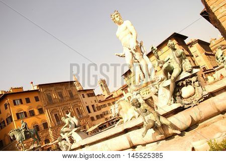 Statue on the Fountain of Neptune on the Piazza della Signoria in Florence Italy Europe.