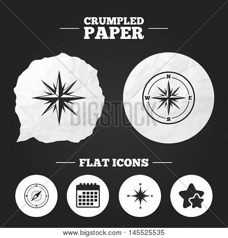 Crumpled paper speech bubble. Windrose navigation icons. Compass symbols. Coordinate system sign. Paper button. Vector