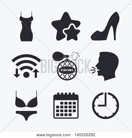 Women dress icon. Sexy shoe sign. Perfume glamour fragrance symbol. Intimates underwear. Wifi internet, favorite stars, calendar and clock. Talking head. Vector