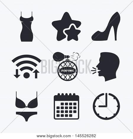Women dress icon. Sexy shoe sign. Perfume glamour fragrance symbol. Intimates underwear. Wifi internet, favorite stars, calendar and clock. Talking head. Vector