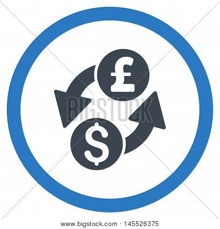 Dollar Pound Exchange vector bicolor rounded icon. Image style is a flat icon symbol inside a circle, smooth blue colors, white background.