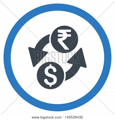 Dollar Rupee Exchange vector bicolor rounded icon. Image style is a flat icon symbol inside a circle, smooth blue colors, white background.