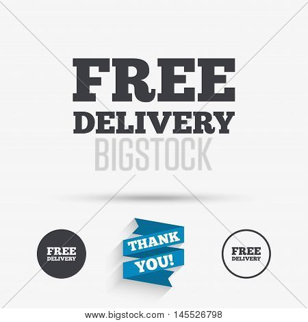 Free delivery sign icon. Delivery button. Flat icons. Buttons with icons. Thank you ribbon. Vector