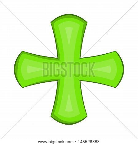 Green cross icon in cartoon style on a white background