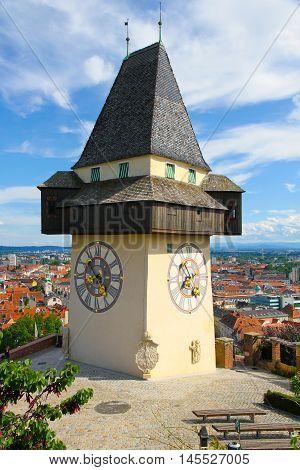 The clock tower (Uhrturm) in Grace (Graz) Styria Austria Europe.