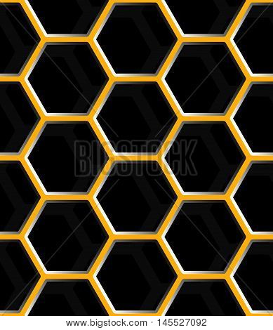 Seamless abstract honeycomb mesh background - hexagons. Color grey with shadows.
