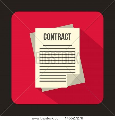 Business contract icon in flat style isolated with long shadow