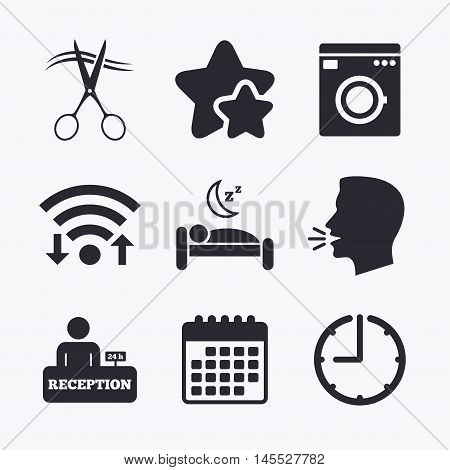 Hotel services icons. Washing machine or laundry sign. Hairdresser or barbershop symbol. Reception registration table. Quiet sleep. Wifi internet, favorite stars, calendar and clock. Talking head. Vector