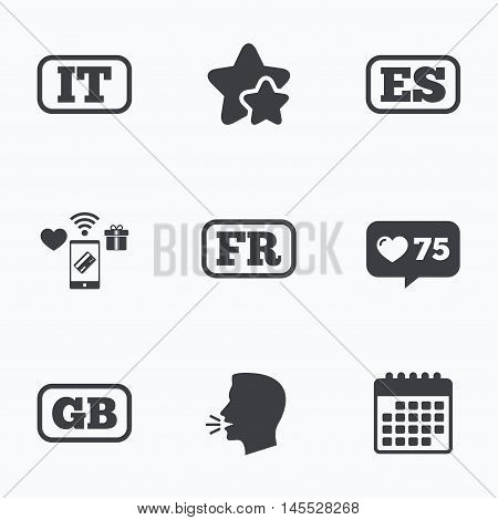 Language icons. IT, ES, FR and GB translation symbols. Italy, Spain, France and England languages. Flat talking head, calendar icons. Stars, like counter icons. Vector
