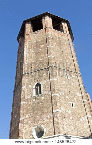 The Cathedral of Udine is an imposing edifice whose construction started in 1236 and was consecrated in 1335 as Santa Maria Maggiore. Steeple detail