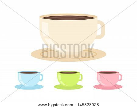 Flat Coffee Cup Isolated On White Background