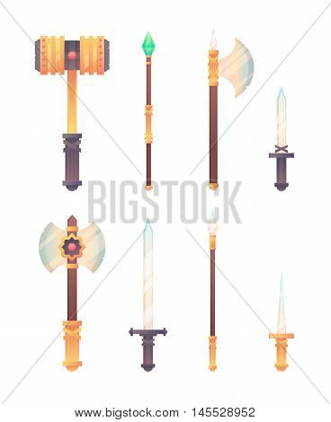 Fantasy medieval cold weapon set in flat-style design for games isolated on white background
