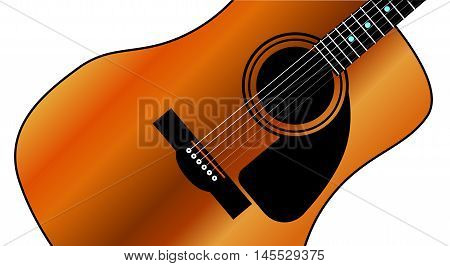A typical western style acoustic guitar isolated over a white background.