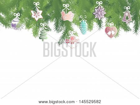 Seamless pattern border with green fir brunches and multicolor Christmas decorations on a white background