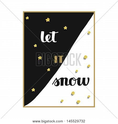 vector black and white background with stars and snow and hand drawn words let it snow