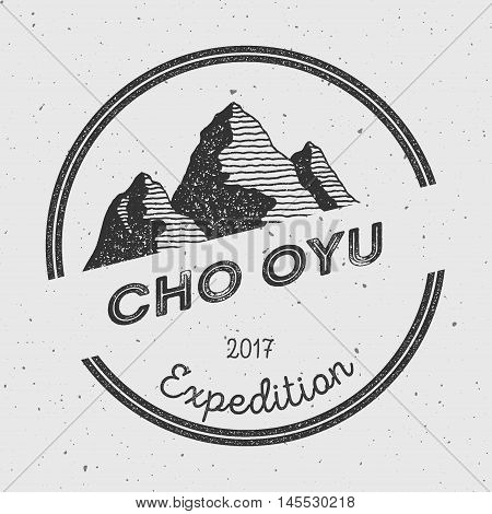 Cho Oyu In Himalayas, Nepal Outdoor Adventure Logo. Round Expedition Vector Insignia. Climbing, Trek