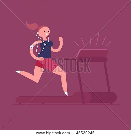 Young adult woman listening to music while running on a treadmill. Vector illustration