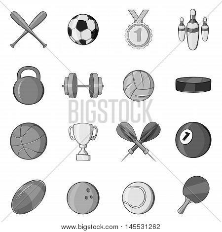 Sport equipment icons set in black monochrome style. Sport games symbols set collection vector illustration