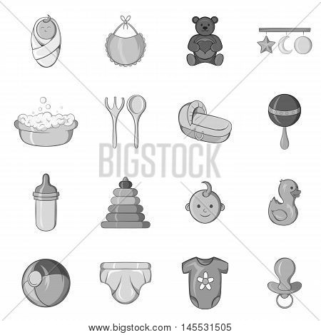 Baby care icons set in black monochrome style. Nursery equipment set collection vector illustration