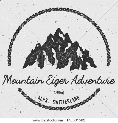 Eiger In Alps, Switzerland Outdoor Adventure Logo. Round Hiking Vector Insignia. Climbing, Trekking,