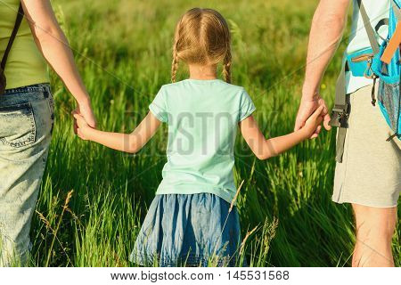Strolling through field. Close up of little girl with pigtails walking through field together with her parents, holding their hands