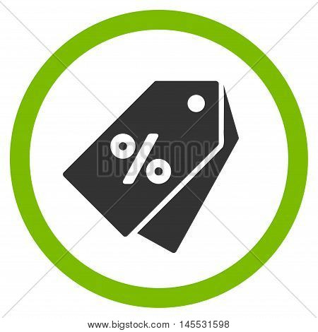 Percent Discount Tags vector bicolor rounded icon. Image style is a flat icon symbol inside a circle, eco green and gray colors, white background.