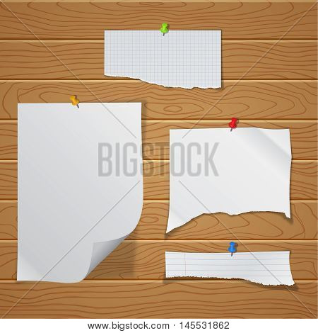 A set of the fragmentary crumpled pieces of paper pinned on a wall from wooden boards. The white bent sheets against the background of texture from whetstones. A vector illustration of realistic pure pieces with a shadow.