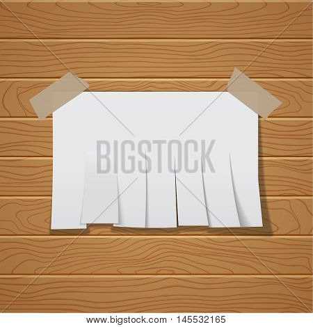 The Chity sheet of paper cut by strips on a wooden wall. The white paper template pasted by an adhesive tape with a shadow. Vector realistic illustration.