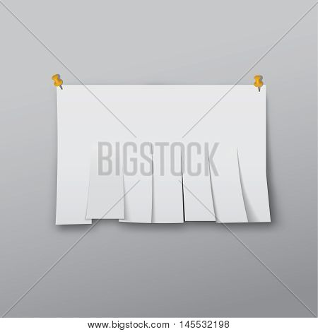 The Chity sheet of paper cut by strips on a gray background. A white paper template with a shadow pinned to a wall. Vector realistic illustration.