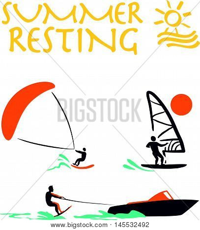Vector flat wind surfing, water skiing logo illustration. Vintage, retro style. Surfer silhouette. Human figure. Extreme sport, summer resting. Summer banner, poster, travel card design template.